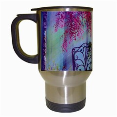 Bench In Spring Forest Travel Mugs (White)