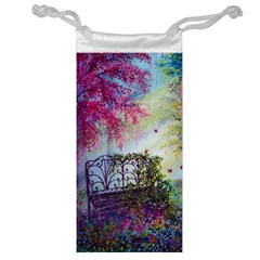 Bench In Spring Forest Jewelry Bag