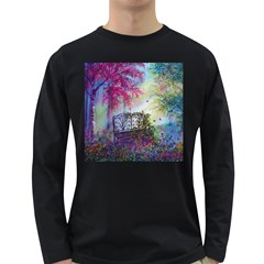 Bench In Spring Forest Long Sleeve Dark T-Shirts