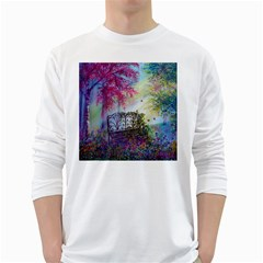 Bench In Spring Forest White Long Sleeve T-Shirts