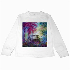 Bench In Spring Forest Kids Long Sleeve T Shirts