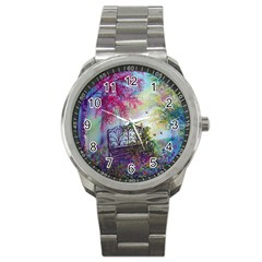 Bench In Spring Forest Sport Metal Watch