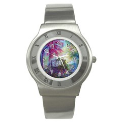 Bench In Spring Forest Stainless Steel Watch