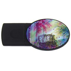Bench In Spring Forest Usb Flash Drive Oval (4 Gb)