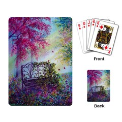 Bench In Spring Forest Playing Card