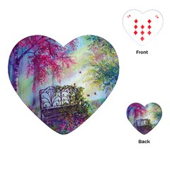 Bench In Spring Forest Playing Cards (heart)
