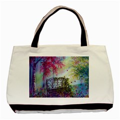 Bench In Spring Forest Basic Tote Bag