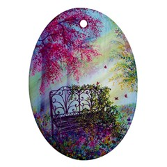 Bench In Spring Forest Oval Ornament (Two Sides)