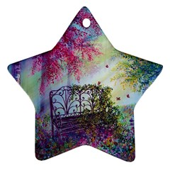 Bench In Spring Forest Star Ornament (two Sides)