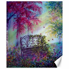 Bench In Spring Forest Canvas 8  X 10