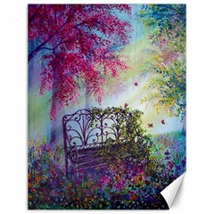 Bench In Spring Forest Canvas 12  x 16