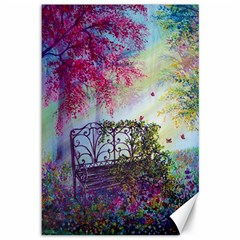 Bench In Spring Forest Canvas 12  X 18