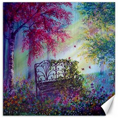 Bench In Spring Forest Canvas 16  X 16