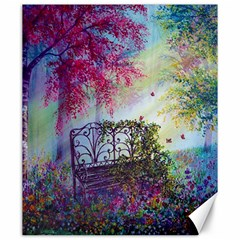 Bench In Spring Forest Canvas 20  x 24