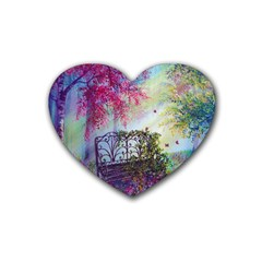 Bench In Spring Forest Heart Coaster (4 Pack)