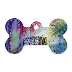 Bench In Spring Forest Dog Tag Bone (two Sides)