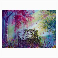 Bench In Spring Forest Large Glasses Cloth (2-Side)