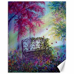 Bench In Spring Forest Canvas 11  X 14
