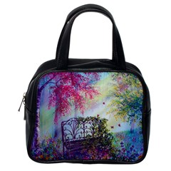Bench In Spring Forest Classic Handbags (one Side)