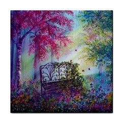Bench In Spring Forest Face Towel