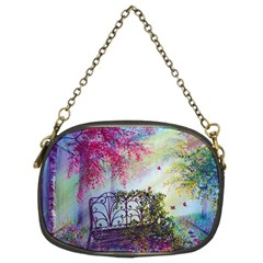 Bench In Spring Forest Chain Purses (two Sides)