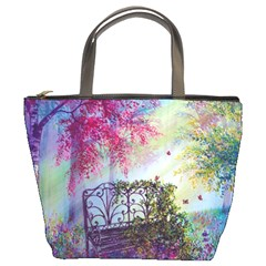 Bench In Spring Forest Bucket Bags
