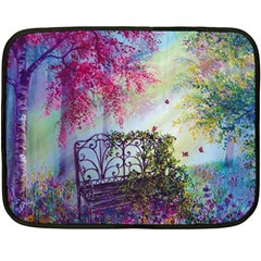 Bench In Spring Forest Double Sided Fleece Blanket (mini)