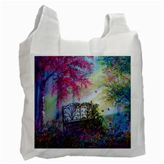 Bench In Spring Forest Recycle Bag (One Side)