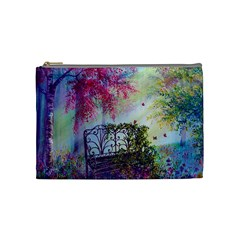 Bench In Spring Forest Cosmetic Bag (medium)