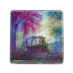 Bench In Spring Forest Memory Card Reader (square)