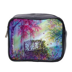 Bench In Spring Forest Mini Toiletries Bag 2 Side