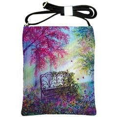 Bench In Spring Forest Shoulder Sling Bags