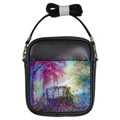 Bench In Spring Forest Girls Sling Bags