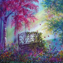 Bench In Spring Forest Magic Photo Cubes