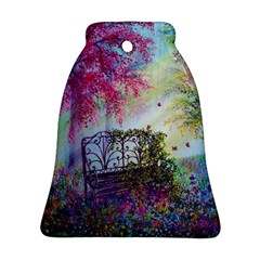 Bench In Spring Forest Bell Ornament (two Sides)