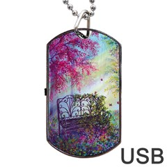 Bench In Spring Forest Dog Tag Usb Flash (two Sides)