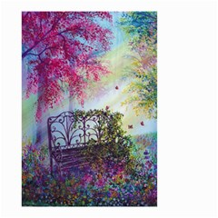 Bench In Spring Forest Small Garden Flag (Two Sides)