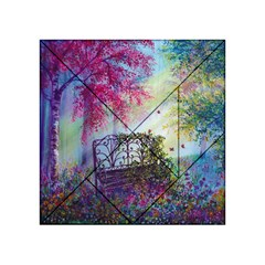 Bench In Spring Forest Acrylic Tangram Puzzle (4  x 4 )