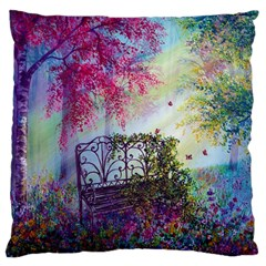 Bench In Spring Forest Large Cushion Case (two Sides)