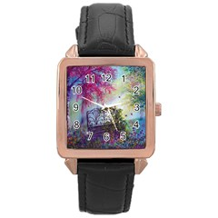 Bench In Spring Forest Rose Gold Leather Watch