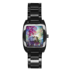 Bench In Spring Forest Stainless Steel Barrel Watch