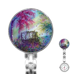 Bench In Spring Forest Stainless Steel Nurses Watch