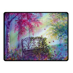 Bench In Spring Forest Double Sided Fleece Blanket (Small)