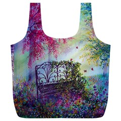 Bench In Spring Forest Full Print Recycle Bags (L)