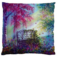 Bench In Spring Forest Large Flano Cushion Case (two Sides)