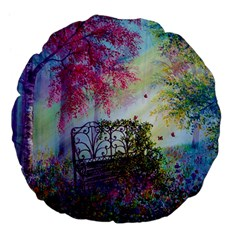 Bench In Spring Forest Large 18  Premium Flano Round Cushions