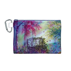 Bench In Spring Forest Canvas Cosmetic Bag (m)