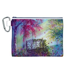 Bench In Spring Forest Canvas Cosmetic Bag (l)