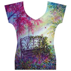 Bench In Spring Forest Women s V-Neck Cap Sleeve Top