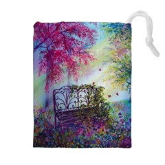 Bench In Spring Forest Drawstring Pouches (extra Large)